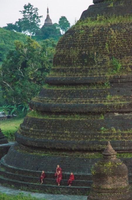 Monks on a stupa, Mrauk U, Myanmar by Wandering Wheatleys