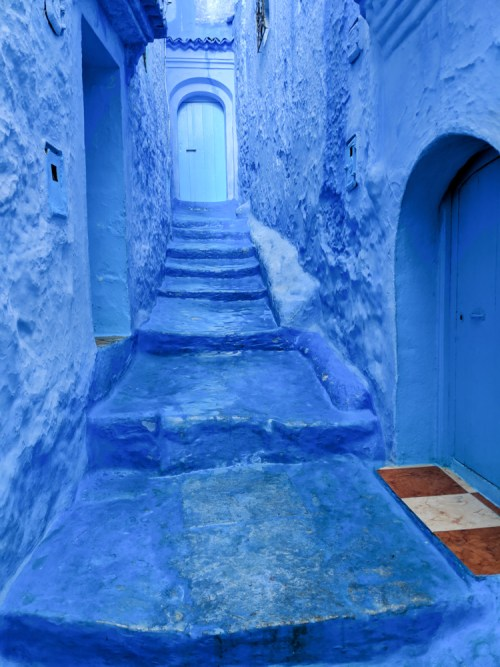 Blue Stairway in Chefchaouen, Morocco by Wandering Wheatleys