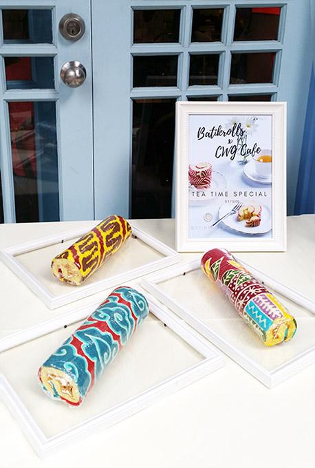 Rolled cakes with Javanese (Bandung) batik pattern: mega mendung, parang