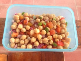 Chick peas, pepper, red onion, tomato, cilantro, olive oil and lime