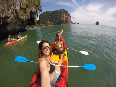 Sarah and I exploring the different limestone islands