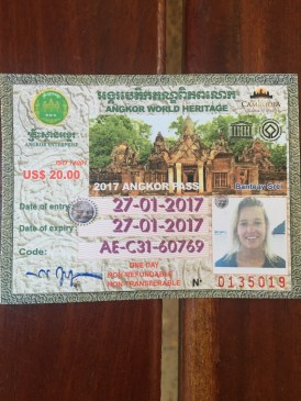 Our ticket into Angkor Wat