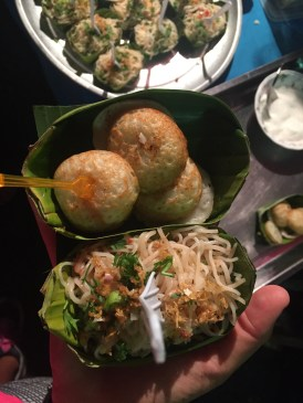 Some Thai street food - Fried mini coconut patties and Pad Thai
