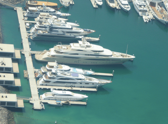 Super yachts parked out front!