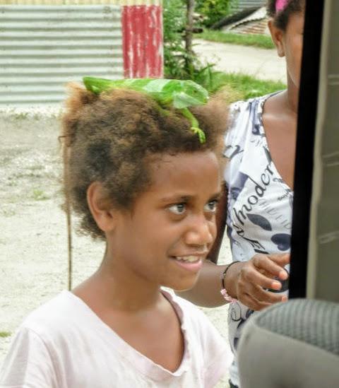 Girl with Lizard in Vanuatu