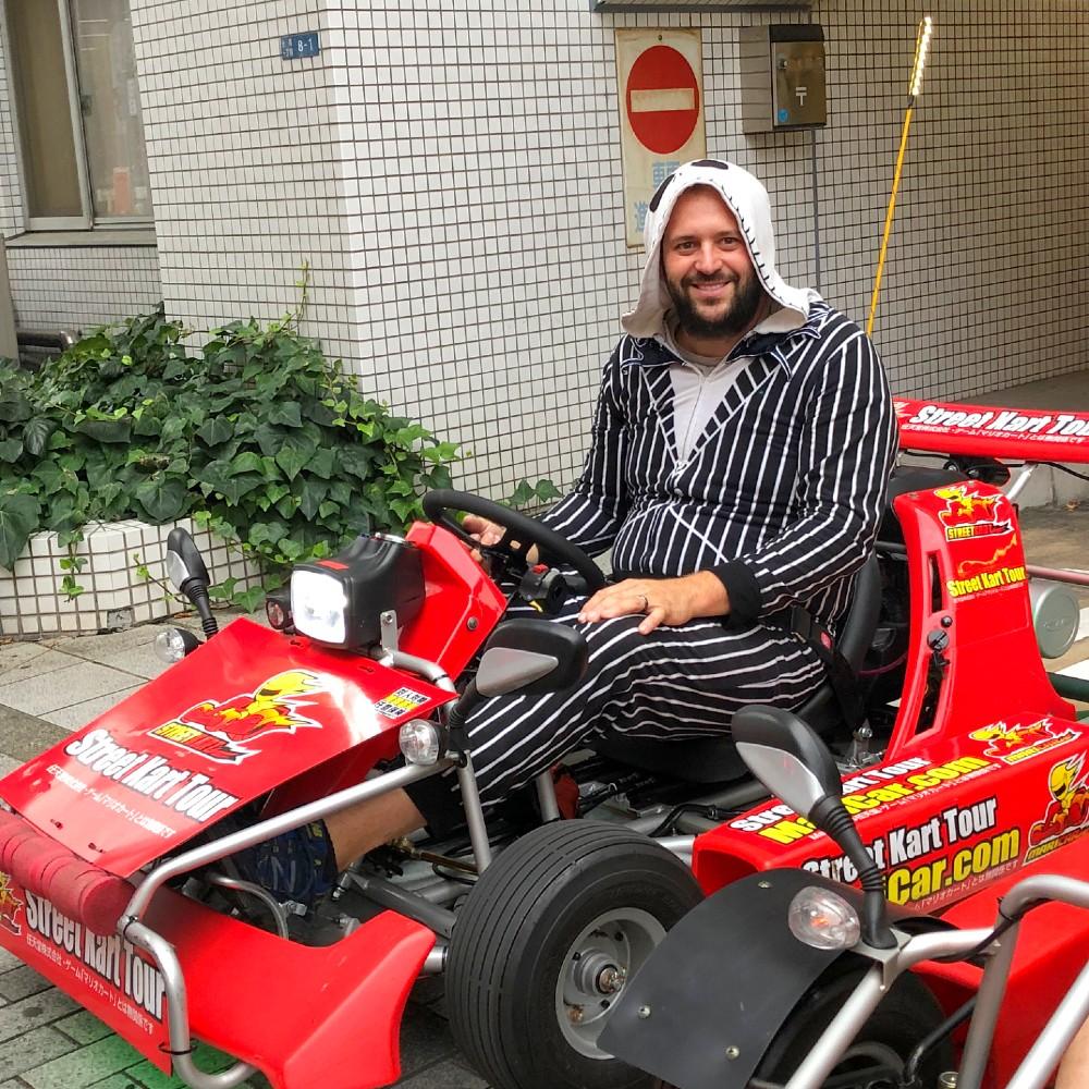 Josh on a Go kart in Tokyo