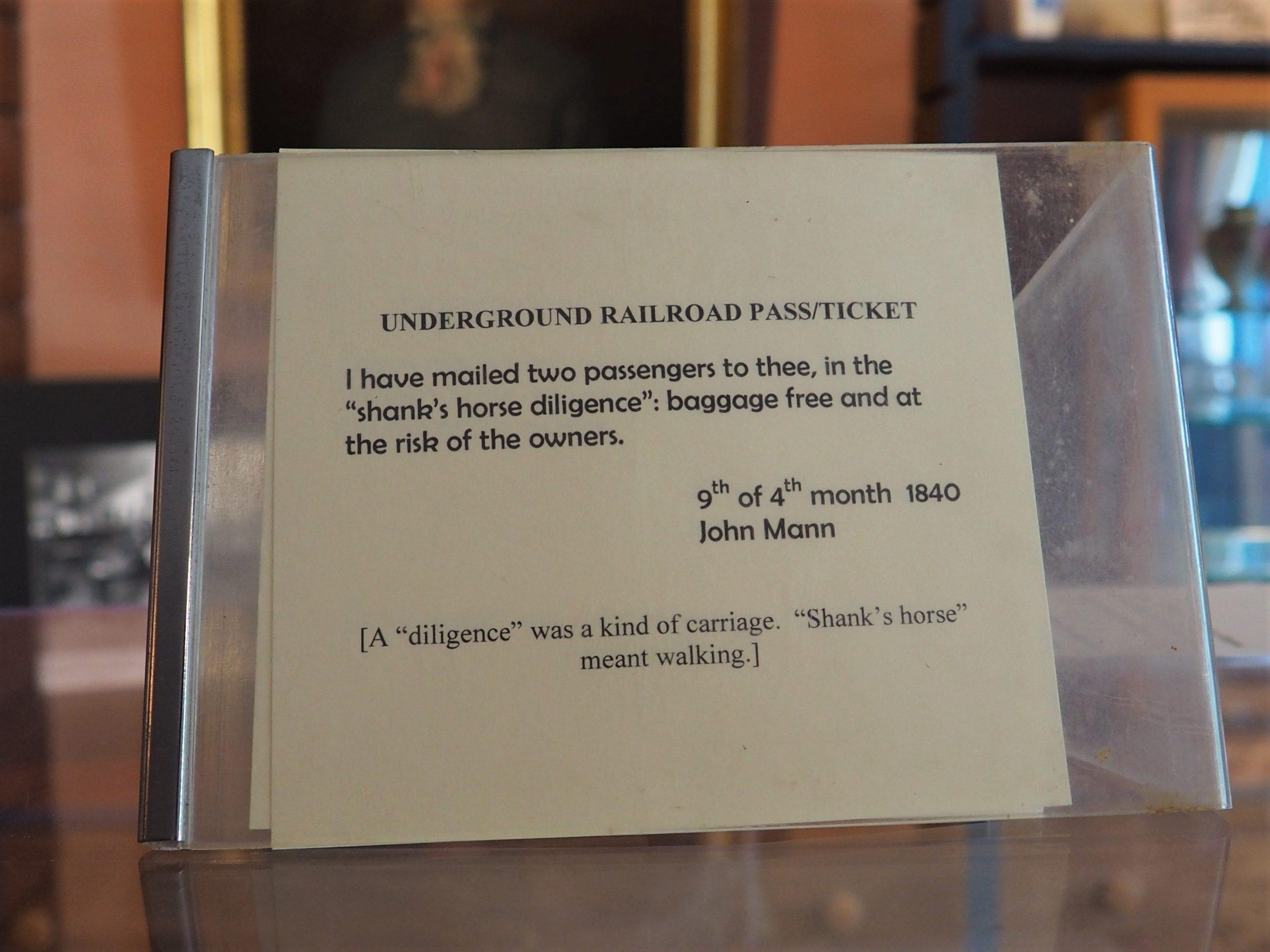 Underground Railroad Ticket Meaning