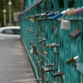 Locks on foot bridge over Odra river.
