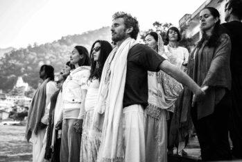 Group leaving Rishikesh at Ganga