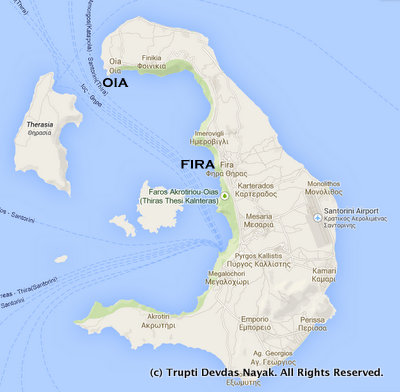Image result for Map of santorini Thira to oia