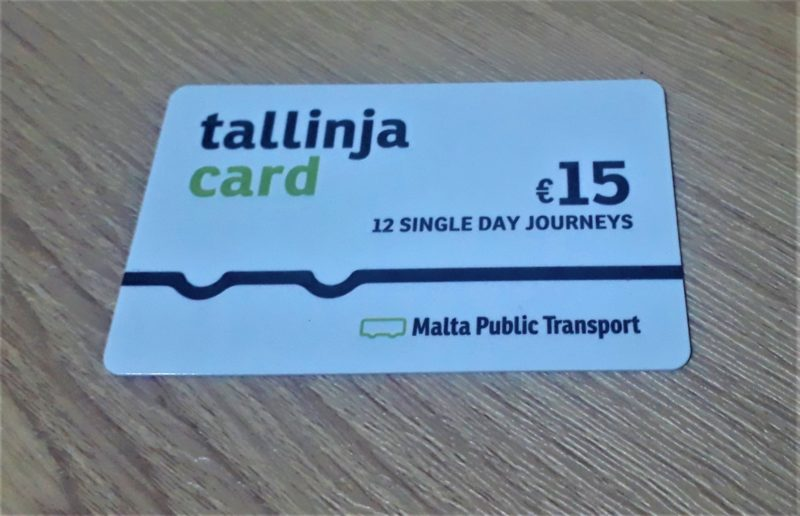 1. A Tallinja travel card for Malta buses