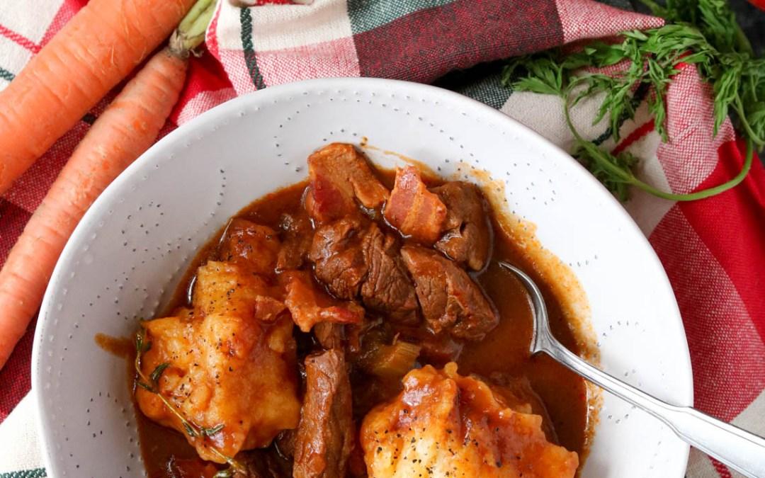 Guinness Beef Stew with Gluten-free Garlic Cheddar Dumplings