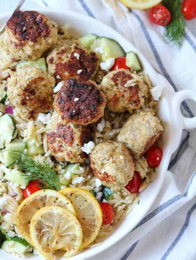 Greek Orzo Salad with Chicken Gyro Meatballs