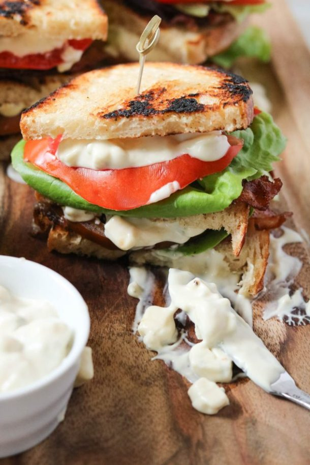 close up shot of the BLT club sandwich with blue cheese mayo