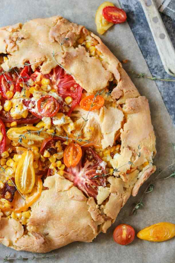 Heirloom tomato and corn savory galette