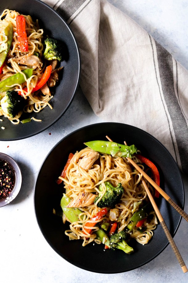 two bowls of chicken lo mein