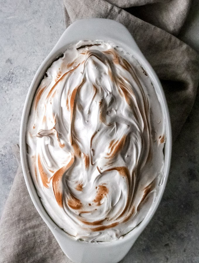 meringue-topped sweet potato casserole dish