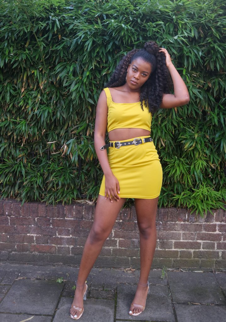 Wearing the Femme Luxe Lime Crop Top & Belted Mini Skirt Co-ord