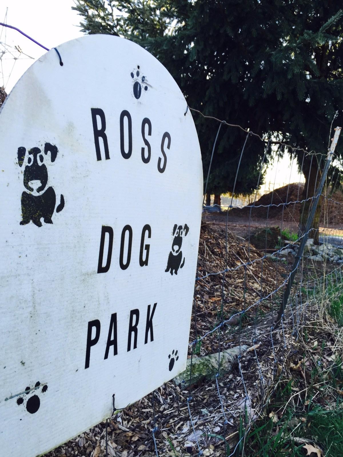 Sign for Ross Dog park.
