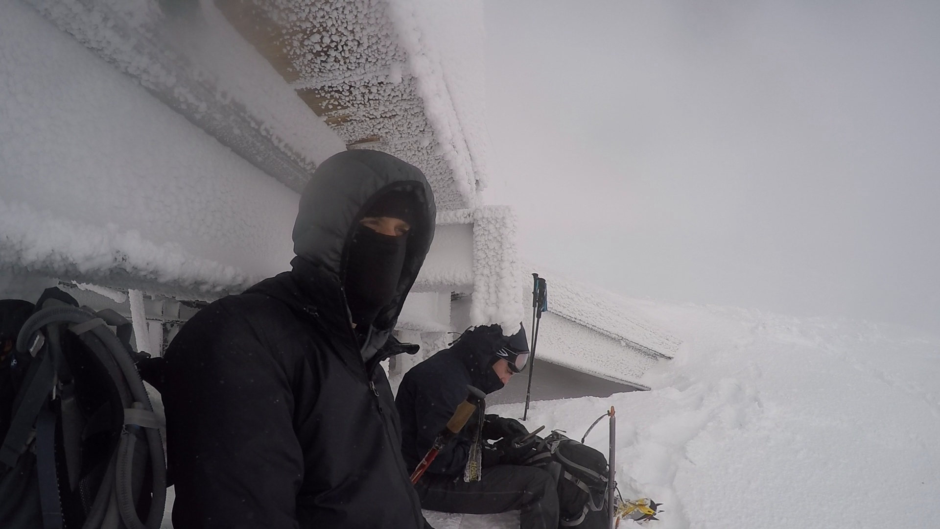 Photo taken December 2015 - We picked a day to hike to the end of Palmer Snowfield with low visibility and high winds to get a sense of what relatively bad conditions might feel like.