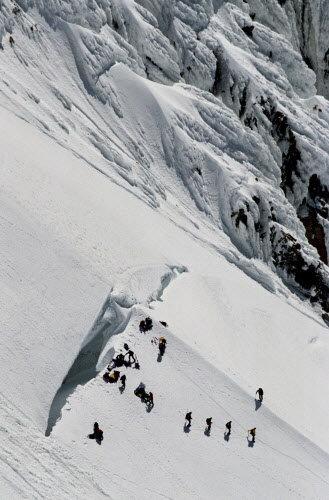 The Bergschrund crevasse. - Photo courtesy of Doug Beghtel/The Oregonian