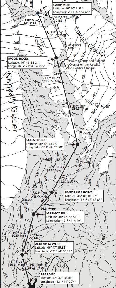 Camp Muir Trail Map