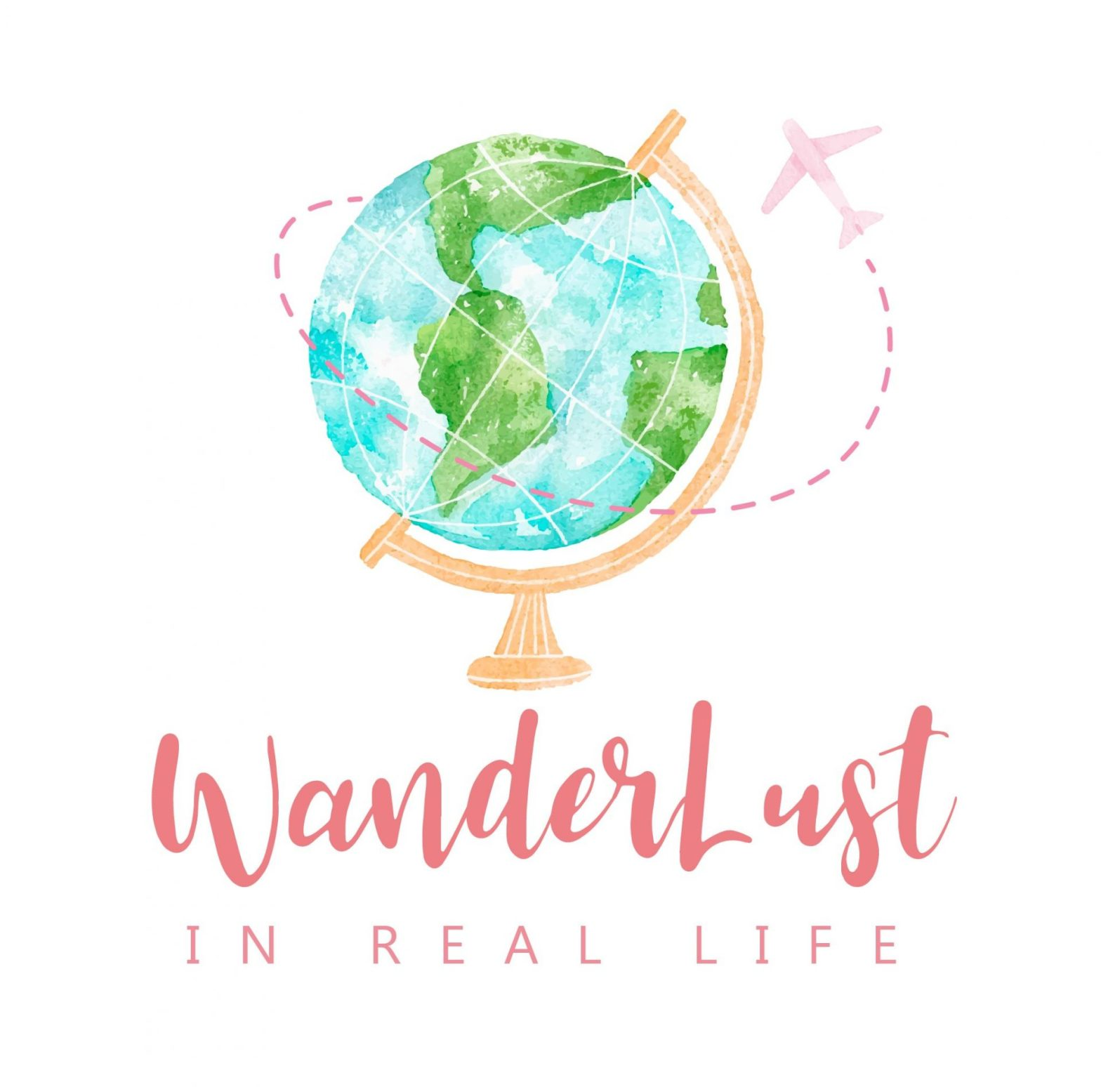 Wanderlust in real life logo featuring a pastel blue and green globe on a gold stand with a pink airplane circling around the globe