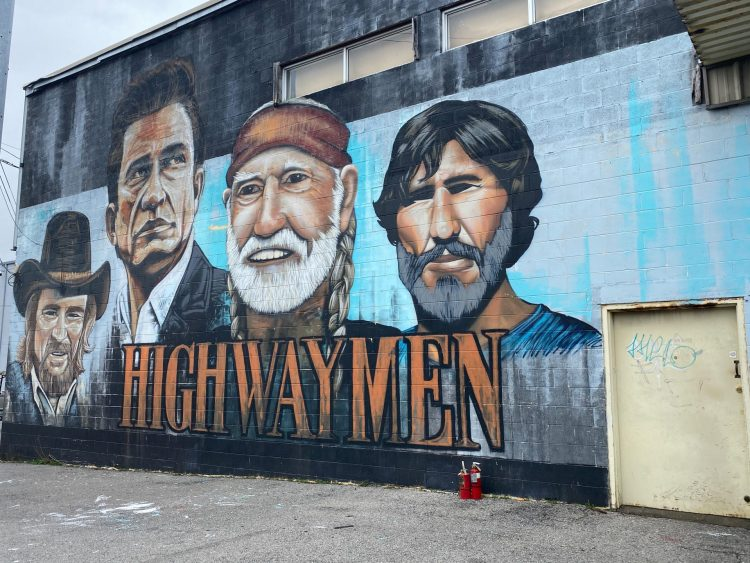 Highway Men mural in Nashville Tennessee. Things to do