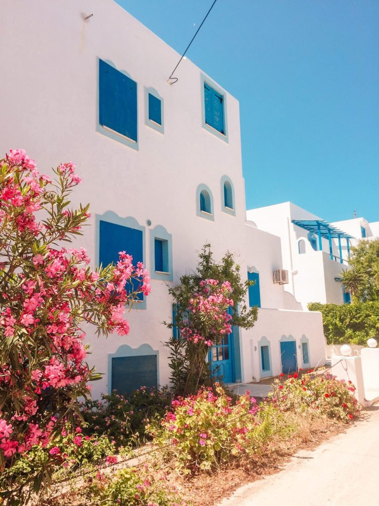 Beautiful quintessential Greece blue and white building on Naxos island. Best places to visit in Greece.