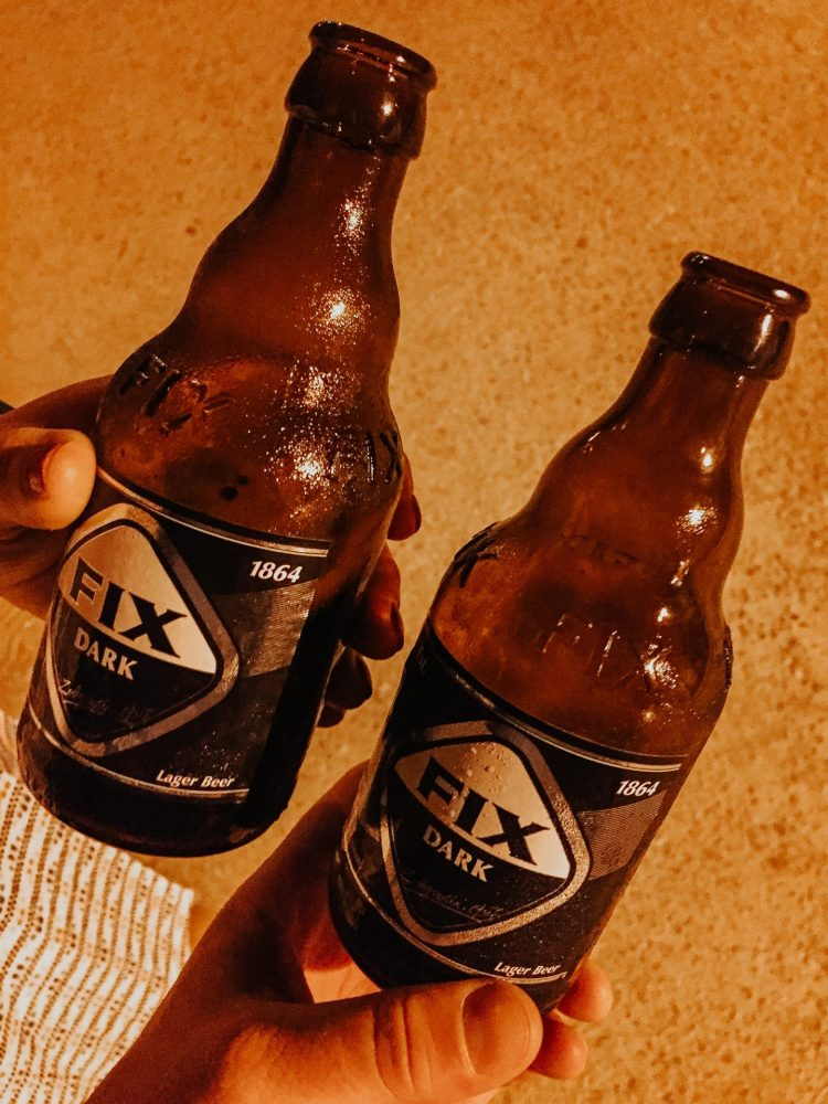 two bottles of fix dark lager in one of the best places to visit in Greece, Athens