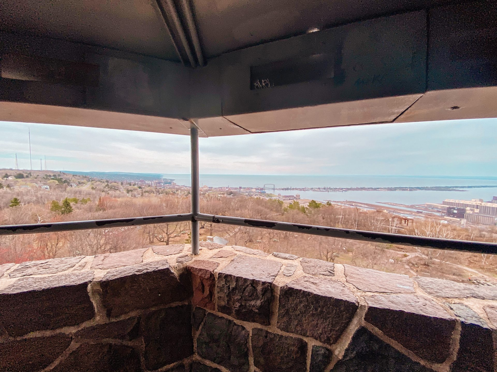The view out over Duluth and Lake Superior from Enger Tower located at Enger Tower Park in Minnesota