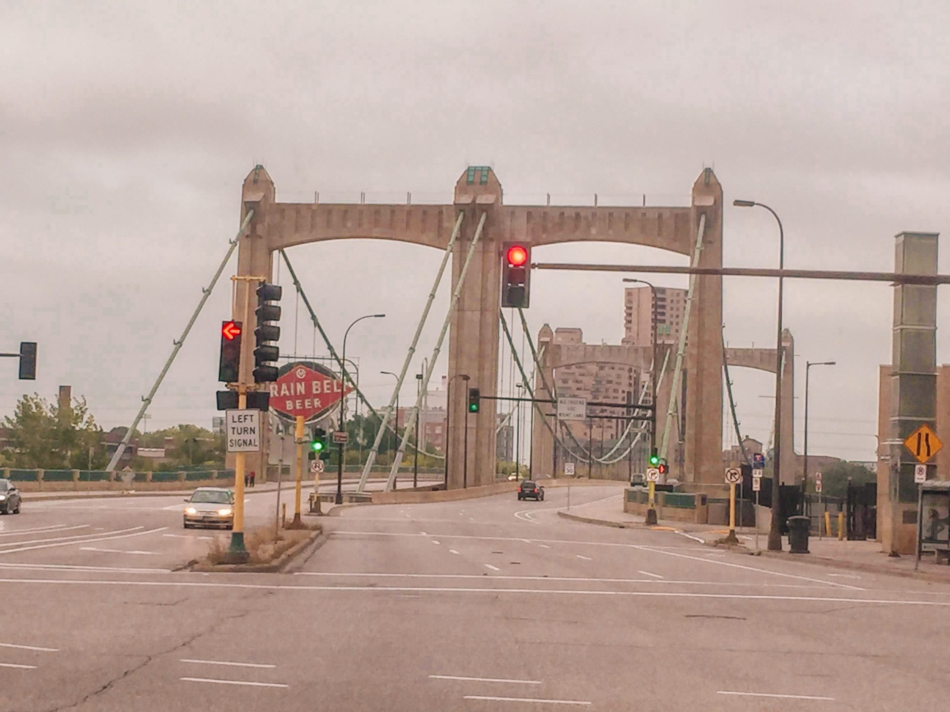 Hennepin avenue bridge in downtown minneapolis