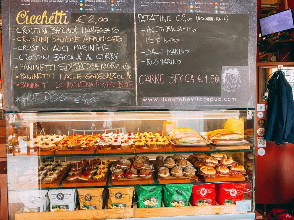 Blackboard with cicchetti offerings at Il Santo Bevitore in Venice Italy