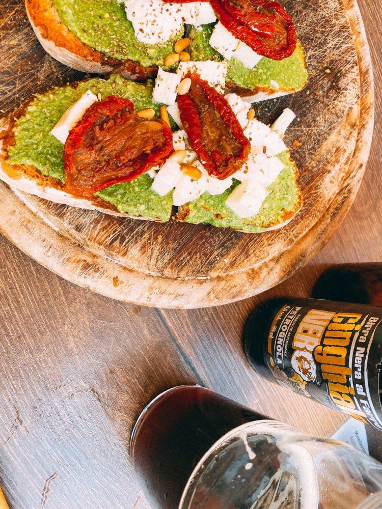 Craft Beer and bruschetta at Bar Netto in Riomaggiore Italy