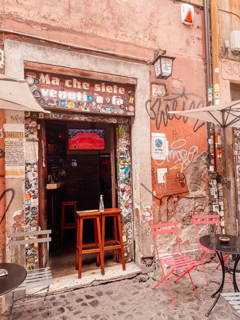 The front of a craft beer bar in Rome Italy