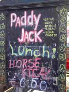 Saturday weekend food market in Dublin, Irish horse meat