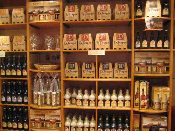 Many styles of La Trappe in the abbey's gift shop
