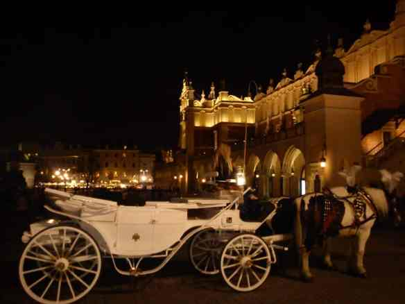 Elegant horse and carriages are in abundance in Krakow's Old Town (Stare Miastro), adding a fairy tale element for a truly memorable dinner in the main square.