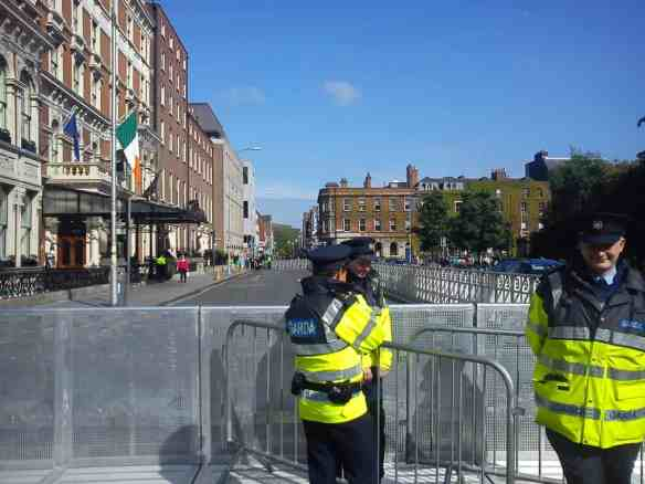 Obama visit hoopla...security at the Shelbourne Hotel where the First Lady stayed with Sasha and Malia while President Obama was in Belfast for the G8 Summit.