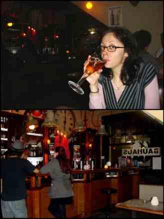 Bell drinking beer back at the Bauhaus, Brugge, Belgium