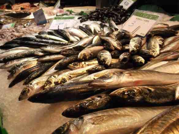 Spanish market food - fresh fish display
