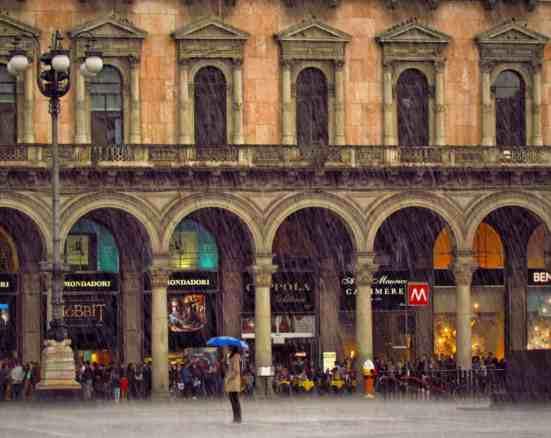 Milan Duomo Piazza in the Rain