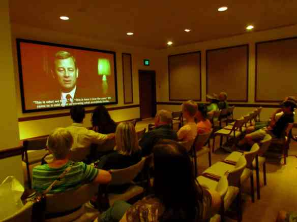 A video on the Supreme Court runs continuously for visitors. Here Chief Justice John Roberts discusses the work that goes into their cases.