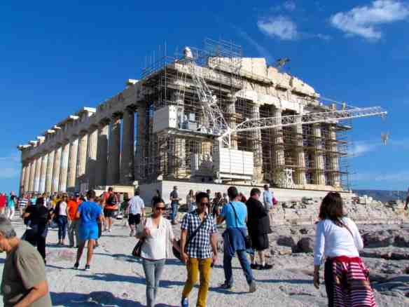 The Parthenon can be crowded during the day, even in late October.