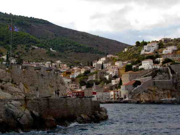 The ship's dramatic approach into the famous island of Hydra