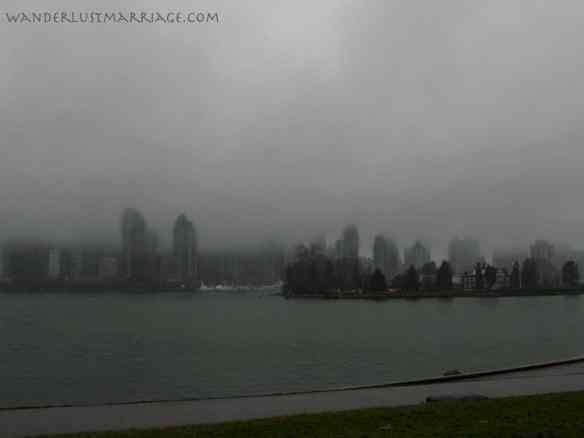 Beautiful Vancouver draped in thick fog.
