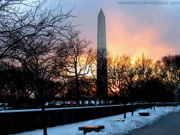 Washington Monument - sunset and snow