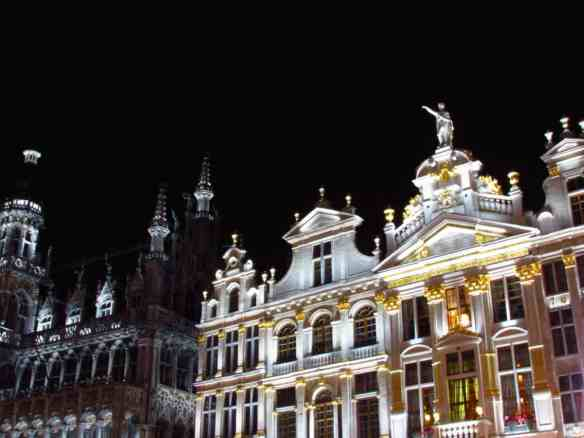Brussels Grand Place lit up at night