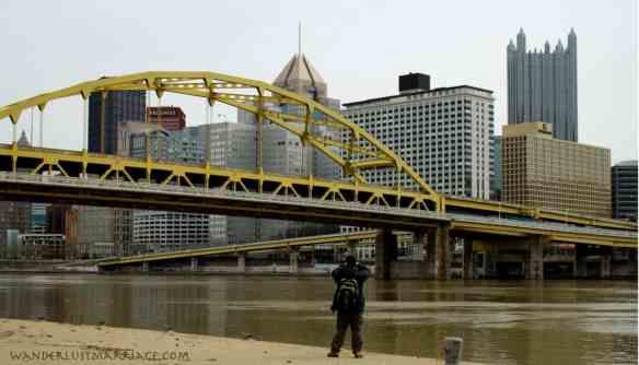 Downtown Pittsburgh, yellow bridge