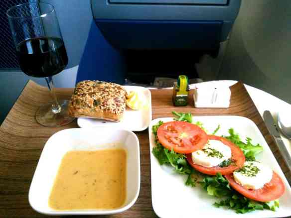 Delta elite soup salad and delicious red wine